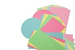 Ορθογώνια και κυκλικά χρωματισμένα έγγραφα που απομονώνονται Στοκ Εικόνες