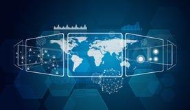 Ορθογώνια, παγκόσμιος χάρτης και δίκτυο Στοκ Εικόνες