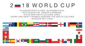 Ορθογώνιες σημαίες 2018 χωρών Παγκόσμιου Κυπέλλου Στοκ εικόνα με δικαίωμα ελεύθερης χρήσης
