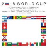 Ορθογώνιες σημαίες 2018 χωρών Παγκόσμιου Κυπέλλου Στοκ Φωτογραφίες