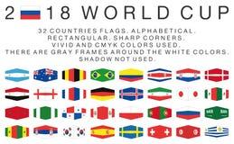Ορθογώνιες σημαίες 2018 χωρών Παγκόσμιου Κυπέλλου Στοκ φωτογραφία με δικαίωμα ελεύθερης χρήσης