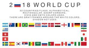 Ορθογώνιες σημαίες 2018 χωρών Παγκόσμιου Κυπέλλου Στοκ Φωτογραφία
