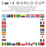 Ορθογώνιες σημαίες 2018 χωρών Παγκόσμιου Κυπέλλου Στοκ Εικόνες