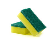 Ορθογώνιο σφουγγάρι αφρού δύο για το πλύσιμο των πιάτων ή τον καθαρισμό του χ Στοκ Φωτογραφίες