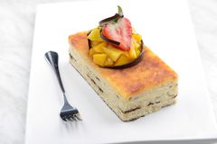 Ορθογώνιο cheesecake στοκ φωτογραφία