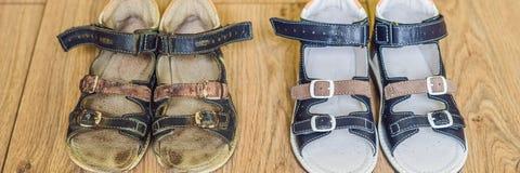 Ορθοπεδικά παπούτσια των παλαιών και νέων παιδιών Τακούνι του Thomas, ΕΜΒΛΗΜΑ υποστήριξης αψίδων, μακροχρόνιο σχήμα στοκ εικόνα