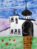 Ορθόδοξη Εκκλησία - ζωγραφική watercolor που γίνεται από το παιδί απεικόνιση αποθεμάτων