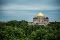 Ορθόδοξος χρυσός θόλος καθεδρικών ναών επάνω από τα δέντρα πόλεων της Ρήγας Στοκ Φωτογραφίες