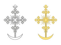 Ορθόδοξος σταυρός με μια ημισέληνο στοκ εικόνα με δικαίωμα ελεύθερης χρήσης