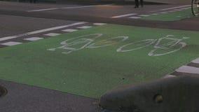 Οριζόμενη αστική πάροδος ποδηλάτων 4K UHD απόθεμα βίντεο