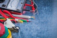 Οριζόντια έκδοση του τοπ κατασκευάσματος εικόνας άποψης εργαλείων ηλεκτρικής ενέργειας Στοκ Εικόνα