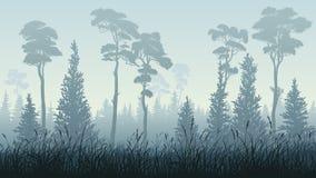 Οριζόντια απεικόνιση του δάσους με τη χλόη απεικόνιση αποθεμάτων