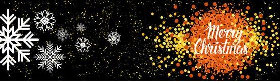 Οριζόντια αφίσα διακοσμήσεων χειμερινών διακοπών εμβλημάτων Χαρούμενα Χριστούγεννας Στοκ Εικόνες