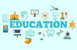 Οριζόντια αφίσα εκπαίδευσης διανυσματική απεικόνιση