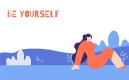 Οριζόντια αφίσα κινήτρου γυναικών στο Floral ύφος διανυσματική απεικόνιση