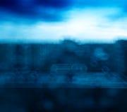 Οριζόντια βιομηχανική πόλη με το μπλε υπόβαθρο bokeh Στοκ Εικόνα