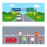 Οριζόντια εμβλήματα με τα οδικά σημάδια Δύο οριζόντια εμβλήματα με τα σημάδια μεταφορών και δρόμων απεικόνιση αποθεμάτων