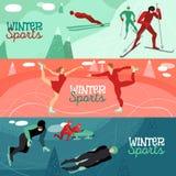 Οριζόντια εμβλήματα χειμερινού αθλητισμού Στοκ Εικόνα
