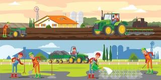 Οριζόντια εμβλήματα καλλιέργειας και γεωργίας απεικόνιση αποθεμάτων