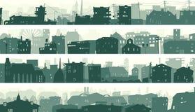 Οριζόντια εμβλήματα κινούμενων σχεδίων των πόλης στεγών Στοκ Εικόνα