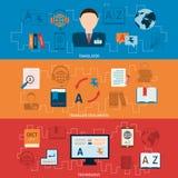 Οριζόντια εμβλήματα μεταφράσεων και λεξικών καθορισμένα Στοκ φωτογραφία με δικαίωμα ελεύθερης χρήσης