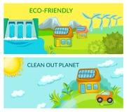 Οριζόντια εμβλήματα οικολογίας κινούμενων σχεδίων ελεύθερη απεικόνιση δικαιώματος