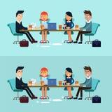 Οριζόντια επιχειρησιακή συνεδρίαση εμβλημάτων, ομαδική εργασία Στοκ Εικόνα