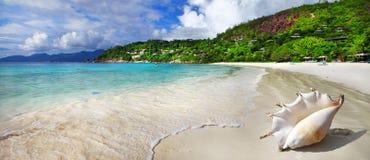 οριζόντια θάλασσα τοπίου άμμου εικόνων παραλιών Σεϋχέλλες Στοκ φωτογραφία με δικαίωμα ελεύθερης χρήσης