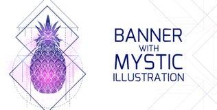 Οριζόντια κάρτα με τη μυστική απεικόνιση ενός ανανά με ένα σχέδιο περιγράμματος, ρόδινοι παφλασμοί watercolor Έμβλημα με μαγικό απεικόνιση αποθεμάτων