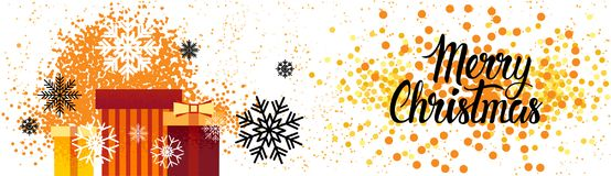 Οριζόντια κιβώτια δώρων διακοσμήσεων αφισών διακοπών εμβλημάτων Χαρούμενα Χριστούγεννας πέρα από το υπόβαθρο παφλασμών χρωμάτων Στοκ Φωτογραφία
