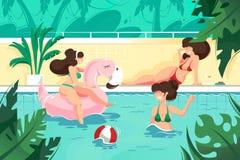 Οριζόντια νέα γυναίκα χαμόγελου με τη σφαίρα και ρόδινος διογκώσιμος κύκλος φλαμίγκο στην πισίνα ελεύθερη απεικόνιση δικαιώματος