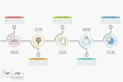 Οριζόντια υπόδειξη ως προς το χρόνο με 5 στρογγυλά στοιχεία, τη χρονική ένδειξη, τα εικονογράμματα και τα παράθυρα κειμένου διανυσματική απεικόνιση