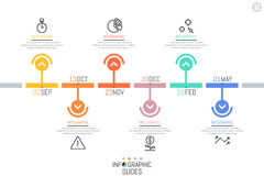 Οριζόντια υπόδειξη ως προς το χρόνο, 6 στοιχεία με την ένδειξη ημερομηνίας και βέλη ελεύθερη απεικόνιση δικαιώματος