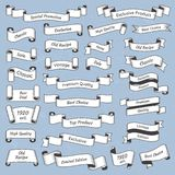 Οριζόντια χαραγμένη εκλεκτής ποιότητας ετικέτα Παλαιά βικτοριανά ετικέτες ετικεττών ή εμβλήματα κορδελλών Αναδρομικό έμβλημα κορδ απεικόνιση αποθεμάτων