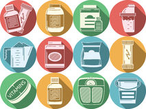 Οριζόντια χρωματισμένα εικονίδια για την αθλητική διατροφή Στοκ Εικόνα