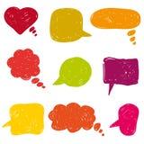 Οριζόντια χρωματισμένες λεκτικές φυσαλίδες συρμένα εικονίδια χεριών Στοκ εικόνες με δικαίωμα ελεύθερης χρήσης