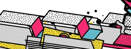 Οριζόντια λωρίδες Glitched Ζωηρόχρωμα φω'τα νύχτας Λάθος ψηφιακών σημάτων Αφηρημένο υπόβαθρο για μια αφίσα, κάλυψη Στοκ Εικόνες