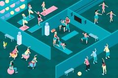 Οριζόντια Isometric απεικόνιση γυμναστικής ελεύθερη απεικόνιση δικαιώματος