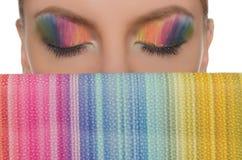 Οριζόντιες χρωματισμένες εικόνα μάτια και τσάντες Στοκ Εικόνα