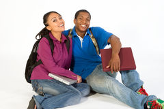 οριζόντιοι καθισμένοι χαμογελώντας σπουδαστές Στοκ Εικόνα