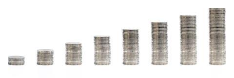 οριζόντιος σωρός των βημάτων που αυξάνονται το νόμισμα που απομονώνεται στο λευκό, ανάπτυξη Στοκ φωτογραφία με δικαίωμα ελεύθερης χρήσης