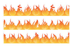 Οριζόντιο άνευ ραφής σχέδιο της σκιαγραφίας πυρκαγιών Διανυσματική απεικόνιση φλογών κινδύνου απεικόνιση αποθεμάτων
