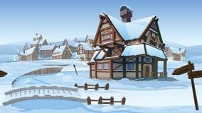 Οριζόντιο άνευ ραφής υπόβαθρο - διανυσματικό χωριό απεικόνιση αποθεμάτων