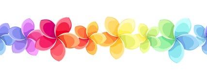 Οριζόντιο άνευ ραφής υπόβαθρο με τα ζωηρόχρωμα λουλούδια επίσης corel σύρετε το διάνυσμα απεικόνισης Στοκ Εικόνες