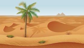 Οριζόντιο άνευ ραφής υπόβαθρο με την έρημο, τους φοίνικες και την ξηρά χλόη ελεύθερη απεικόνιση δικαιώματος