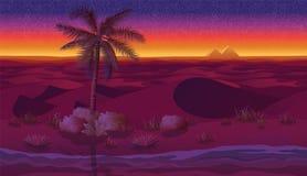 Οριζόντιο άνευ ραφής υπόβαθρο με την έρημο, τους φοίνικες και την ξηρά χλόη διανυσματική απεικόνιση