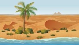 Οριζόντιο άνευ ραφής υπόβαθρο με την έρημο, όαση απεικόνιση αποθεμάτων