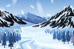 Οριζόντιο άνευ ραφής υπόβαθρο με το χειμερινό τοπίο - βουνά, δάσος, χιόνι διανυσματική απεικόνιση