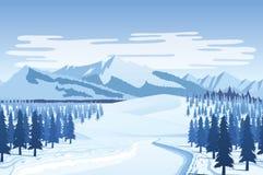 Οριζόντιο άνευ ραφής υπόβαθρο με το χειμερινό τοπίο - βουνά, δάσος, χιόνι απεικόνιση αποθεμάτων