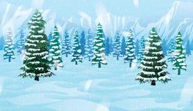 Οριζόντιο άνευ ραφής υπόβαθρο με το χειμερινό τοπίο απεικόνιση αποθεμάτων